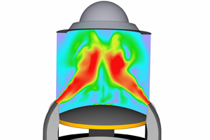 Engine cylinder CFD simulation showing in-cylinder spray and combustion