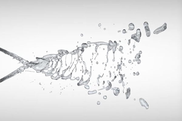 CFD simulation visualization of colliding fluid jets